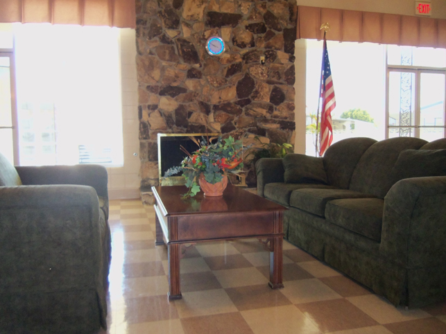Welcoming clubhouse that offers comfortable seating for lounging and mingling with neighbors.