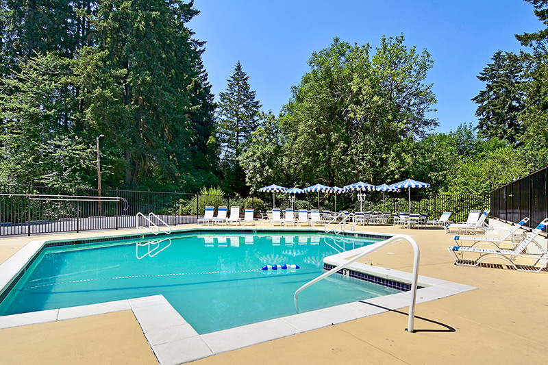 Swimming pol with calm waters. Pool furniture set up around area.