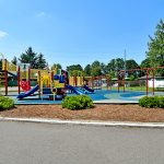 Large open playground area for both older and younger children with slides, swings, and jungle gym.