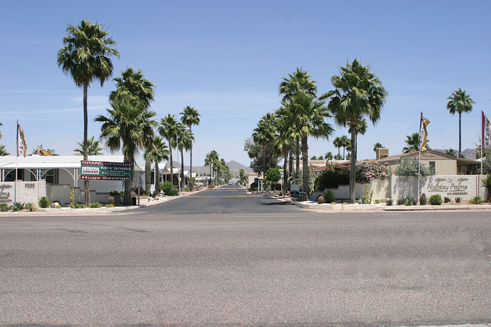 Front entrance to Holiday Palms with wide, open, clean streets paved with speed bumps and Palm Trees. Welcome signs greet you as you drive in. Mountains in the background provide beautiful scenery