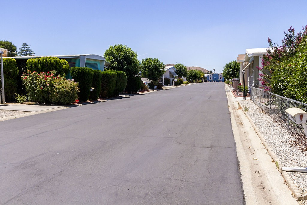 Wide, paved streets lined with greenery from residents manufactured homes. Bushes and trees are kept trimmed and presentable.