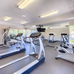 Fitness center with treadmills, stationary bikes, weight machine, and free weights.
