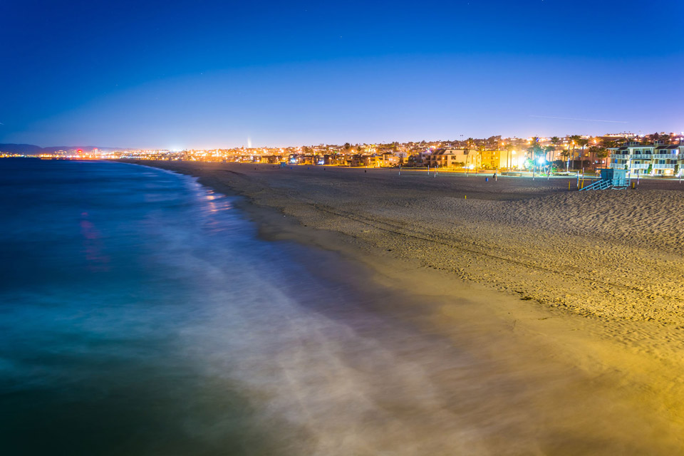 Beautiful night time view of the neighboring Southern California beaches. Only five miles from the community, residents can enjoy life at the lively beaches.