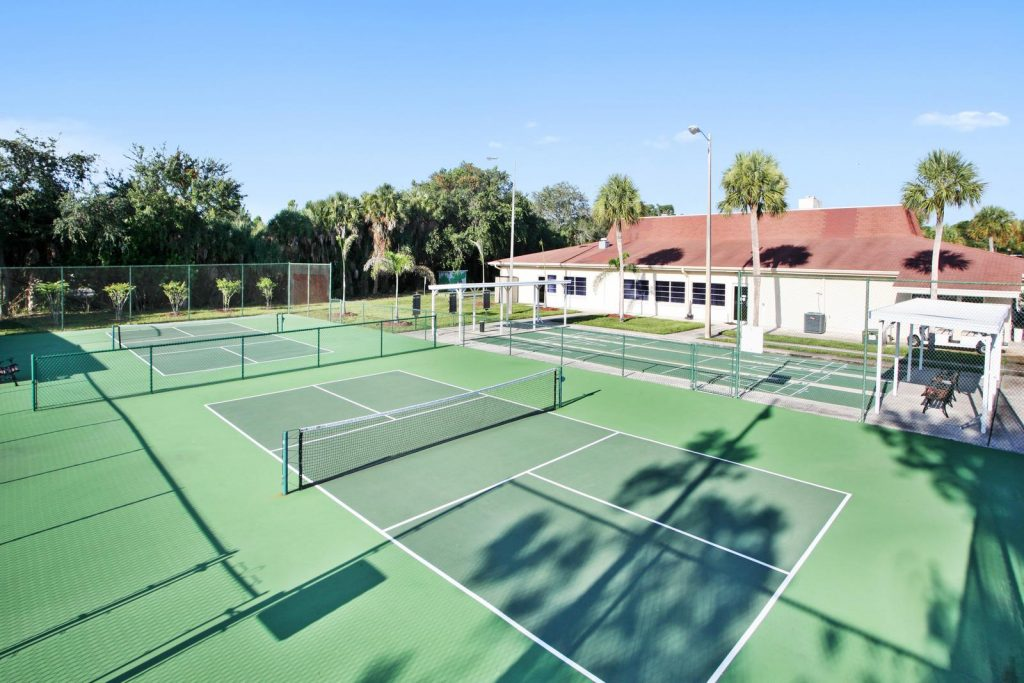 Fountainview Estates, an active, upscale 55 plus manufactured home community with two pickleball courts.