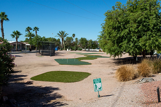 Silver Spur Village is an Active Adult 55 plus community with outdoor putting green.