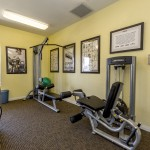 Fitness center with weight machines.