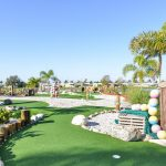 Beautiful miniature golf with fresh greens along the course. Palm trees planted throughout. Natural lake in the background.