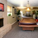 Covered pool table next to fireplace. Painted picture of moose hangs above fireplace.
