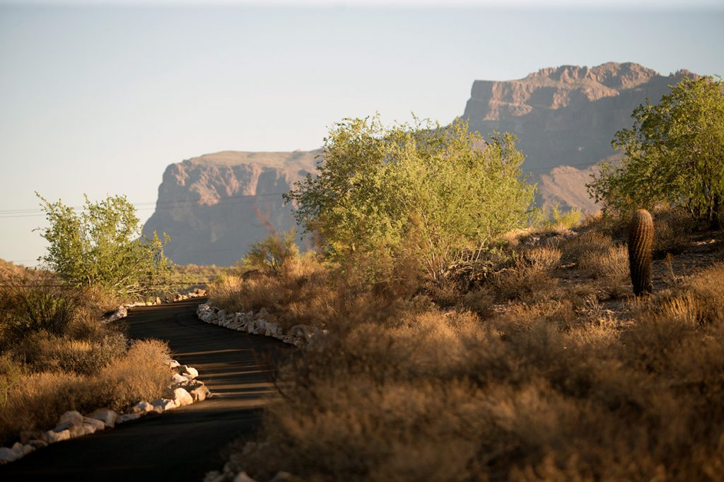 Smooth paved walkway with desert landscape around and superstition mountain in background