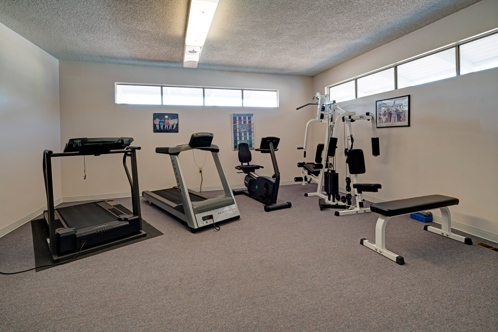 Fitness Room with treadmills, stationary bike and weight machine.