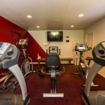Community fitness center equipped with treadmills, stationary bikes, and ellipticals. Enhanced with a dark red wall and carpet, as well as a television.