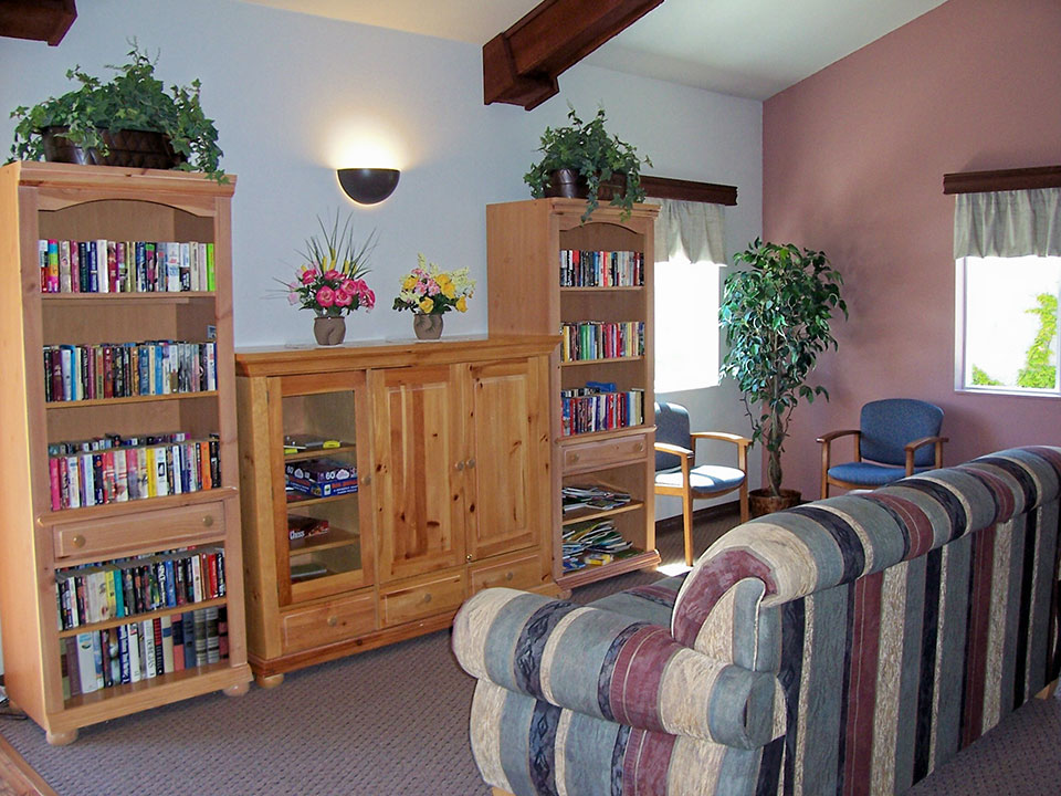 Library room with shelves of books. Couch in front of bookcases and two chairs with fake plant in corner.