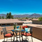 Beautiful homes at Montesa for the 55plus have some homes with rooftop decks with views of the Superstition Mountains. Deck big enough for bistro table and couple chairs