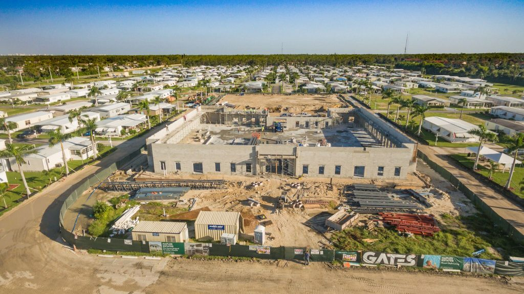 Aerial shot from the front of the clubhouse which shows the construction of the clubhouse being built.