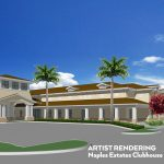 Naples Estates, a premier resort style 55+ manufactured home community is in the midst of rebuilding after a devastating hurricane. This is an artist rendering of what the clubhouse and activity center will look like after it's built. Large rectangular building with beautiful palm trees and lush landscape around.