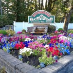 Beautiful white, pink ,blue, purple flowers set in stone around the Riverbend sign that says Riverbend - A Community with a lifestyle. Very tall full trees in the background.