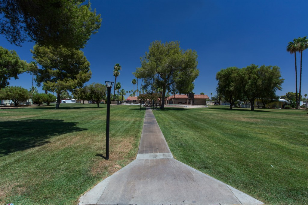 Large grassy park area with lighted path and plenty of trees for shade.