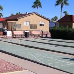 Silver Spur Village is an Active Adult community with manufactured home and 4 outdoor shuffleboard courts. Benches to sit and watch the game.