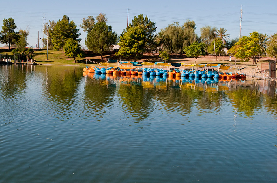 The lake is equipped with paddle boats to rent and use.