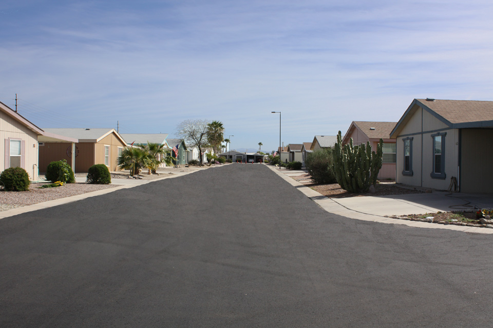 Cimarron Trails, a 55 plus community in San Tan Valley, Arizona has wide clean, paved streets.