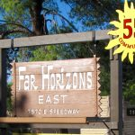Far Horizons East entrance sign with address 7570 E. Speedway Ave and a 55 plus community.