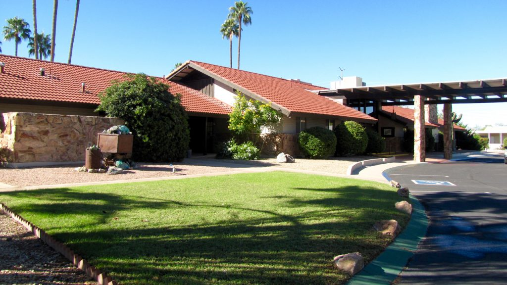 Far Horizons East in Tucson, Arizona is an active 55plus community with clubhouse. Clean, green grass and trees and shrubs.