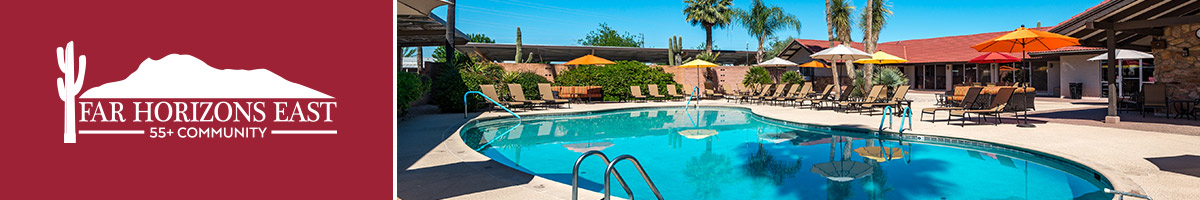 Far-Horizons-East-LOgo and photo of pool with patio chairs and umbrella tables