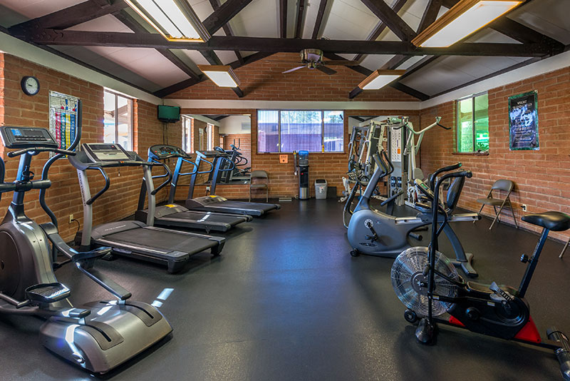 Fully equipped community gym with access to different exercise machines. Vaulted ceilings and light brick walls.