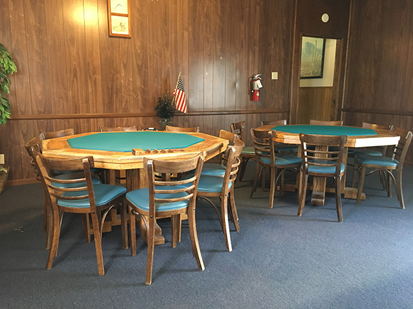 Two poker tables available for use in the billiards room. Sits up to eight people to play at a time.