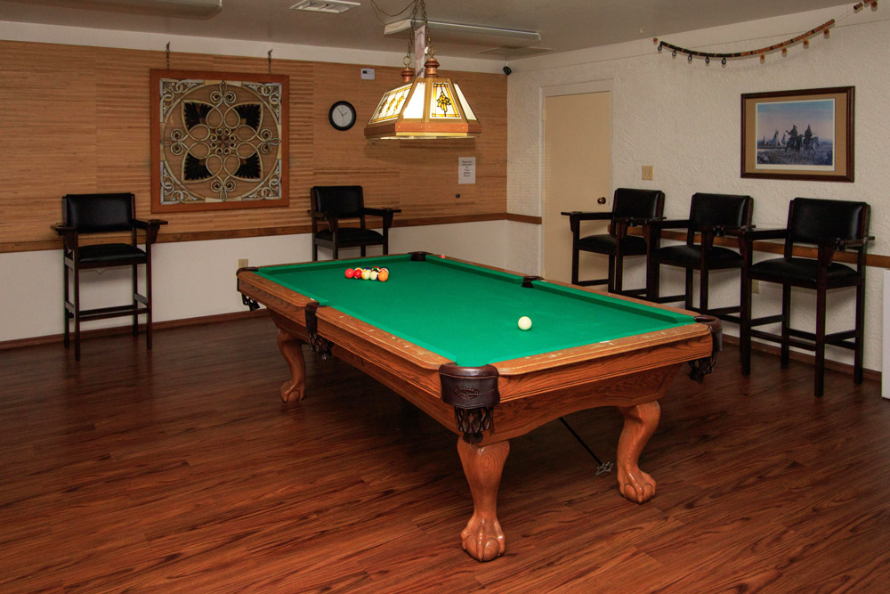 Billiard room with one pool table and higher, barstools along the wall
