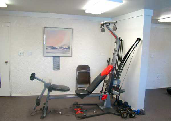 Fitness room with weight machine and a few free weights.