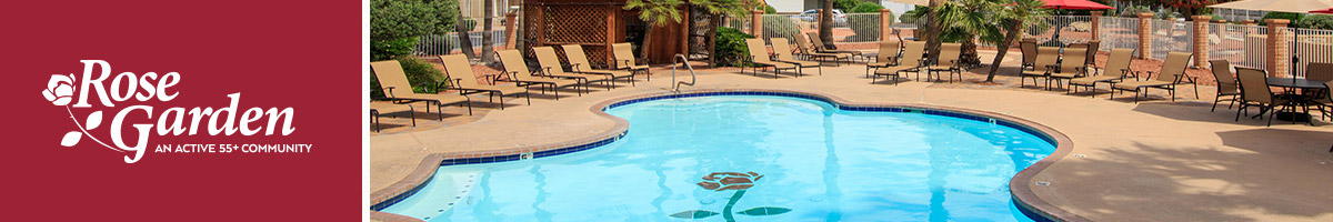 Rose Garden Manufactured Home Community in Surprise, Arizona. Photo of a pool with lounge chairs surrounding it and patio tables with outdoor umbrellas.