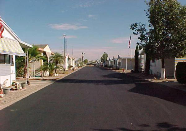 Wide, clean paved streets through the neighborhood.
