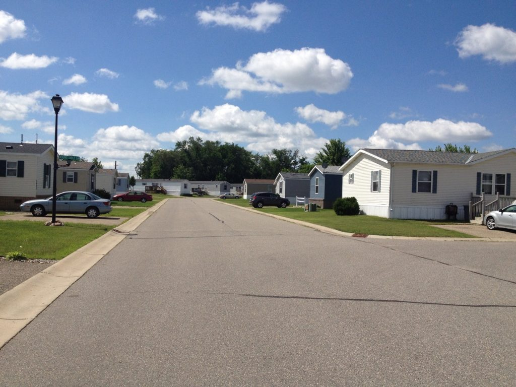 Quiet neighborhood with manufactured homes.