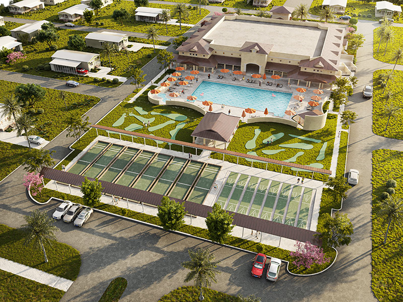 Naples Estates rendering of new activity center with large pool, spa, 8 shuffleboard courts and 8 bocce ball courts.