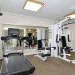 Heritage Village, an all age manufactured home community has fitness center with treadmill and weight machine.