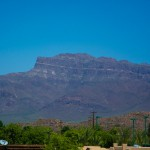 Beautiful view of the Superstition Mountains in Gold Canyon, AZ, situated right outside of the Superstition Views community.