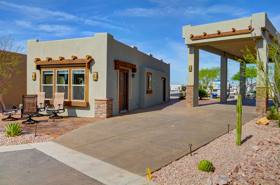Superstition views rv resort in gold canyon az for 55 park model homes for sale - Garage for rv model ...