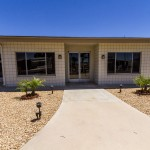 Clean and open front view of the community center provides an easy access to the entrance.