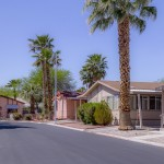 Wide, clean paved streets through the community. Manufactured homes landscaped with palm trees throughout.