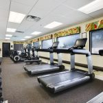 Well equipped fitness Room with treadmills, free weights and stationary bicycles.