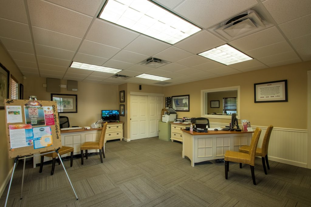 Palm Beach Plantation, an all age manufactured home community, has an onsite management office. Daily activities and or reminders are posted on the corkboard in the office.