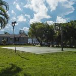 Children can also enjoy the outdoor basketball court with hoops on either end. There are lights for evening game.