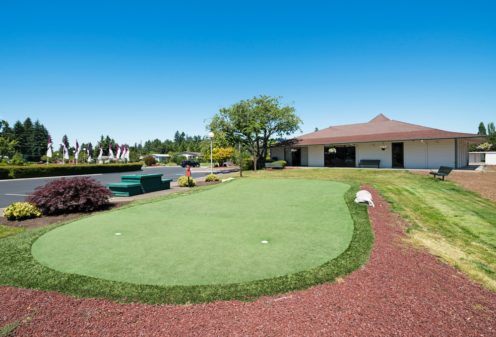 Small putting green outside with picnic table and benches.