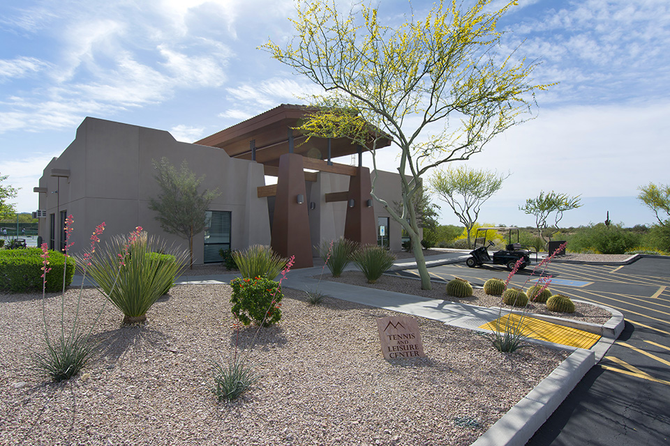 Tennis and leisure center at Montesa at Gold Canyon is uniquely built