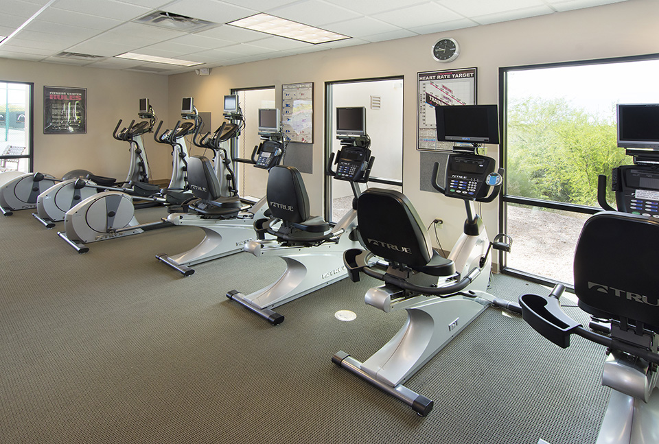 Fitness center w four bikes and 3 elliptical machines. All have their own TV