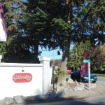 Front entrance to Golden Rose, a 55 plus age community. White stone wall with a red signage of the community name.