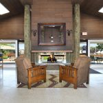 Seating area in front of the beautiful fireplace in the clubhouse. Quite, relaxing area for residents.