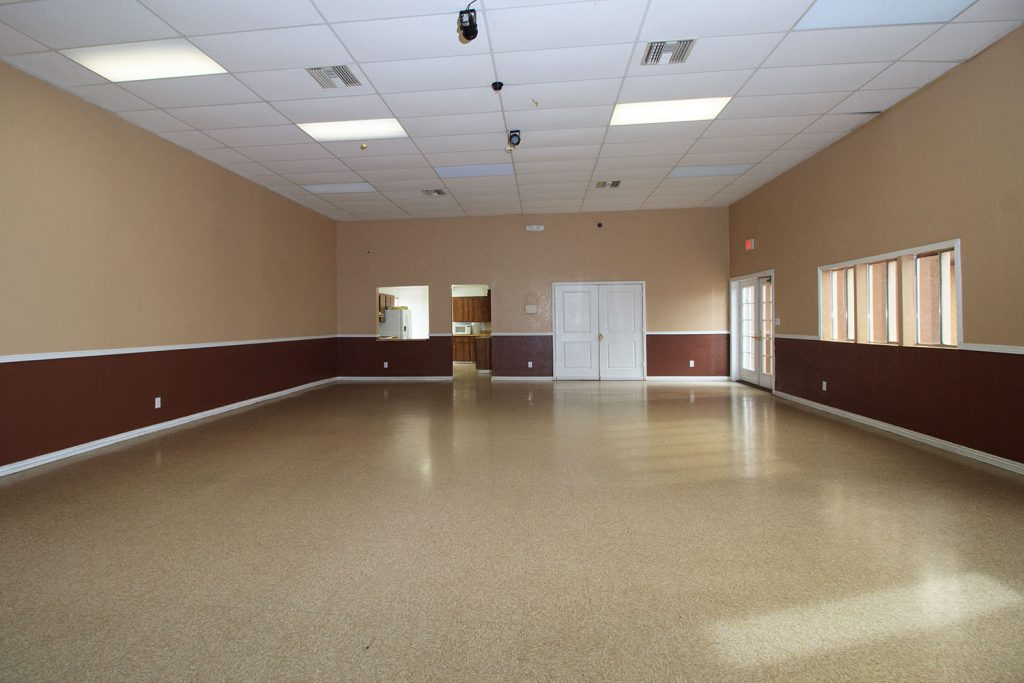 Large community room for neighborhood events.