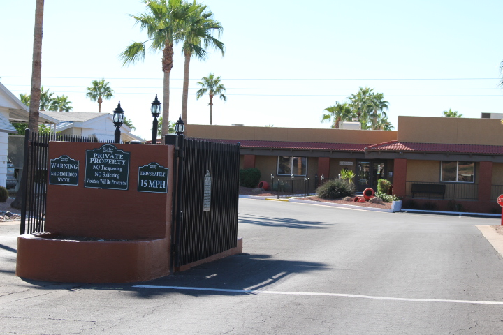 Silver Spur Village is a gated community at the entrance.